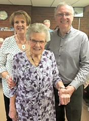 Gladys Radburn celebrated her 102nd birthday with her son Bill and daughter-in-law Vicky Radburn
