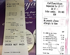 The receipts for the milk order (left) and the peanut order (right)