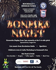 There will be a live fireworks display at Rochdale AFC's Bonfire Night celebrations on Tuesday