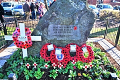 Poppy wreaths adorn the Castleton war memorial for Remembrance Sunday 2019