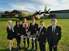 Cardinal Langley students with their quadcopter