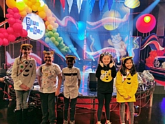 Pupils from Little Heaton C of E Primary School, Middleton, on the set of Blue Peter