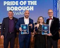Lee Durrant and Michelle Hayes are presented with the Pride of the Borough Award by Andy King from Link4Life (left) alongside council chief executive Steve Rumbelow