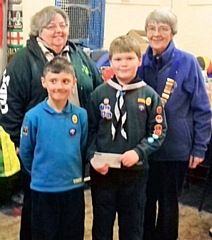 Lion President Irene Sagar, 3rd/4th Ravenscroft Scout Group Leader Gail Walthal and cubs Charlie Beeley and Bradley Charlesworth