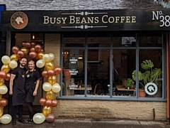 Becky and Danny O�Neill outside Busy Beans
