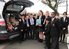 St Cuthbert's RC High School students with food for the Foodbank