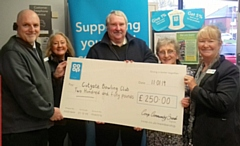 Steve Parkinson, Co-op Food Store Manager: Bev Place, Pioneer Member; Duncan Heath and Kath Sharp, Cutgate Bowling Club and Bobbie Jones, Co-op Funeralcare