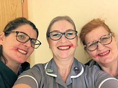 Amanda Storey, gynaecology Macmillan nurse with colleagues Tracey Dixon and Julie Dale. All the ladies have smeared their lipstick