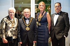 Zoe Clough (second right) at the 2019 Rochdale Law Association dinner with the Mayor and Mayoress Billy and Lynn Sheerin and Nazir Afzal OBE (far right)