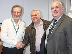 L-R: Paul Whiting; Councillor Neil Emmott, cabinet member for the environment; Martin Taylor, head of environmental management