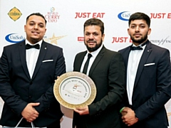 Manager of The Milnrow Balti, Mohammed, with his sons Hadis (left) and Shan (right) who help run the family business