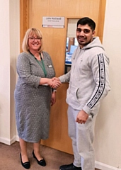 Springhill Hospice Chief Executive Mrs Julie Halliwell with boxer Muhammad Ali