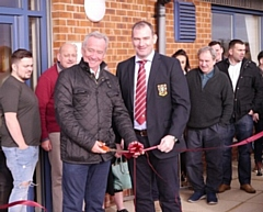 Rochdale Rugby Union Club new balcony opened by Kevin Philbin and Jonathan Rhodes, club Vice-Chairman