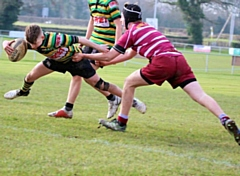 Jack Bennetta finding his way to the try line - Littleborough Rugby Union Under 15 boys