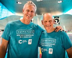 Mark Foster and Duncan Goodhew are supporting Swimathon 2019, raising vital funds for Cancer Research UK and Marie Curie