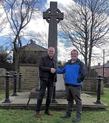 Milnrow & Newhey Cllr Andy Kelly and parishioner Walter Tann at the St James War Memorial