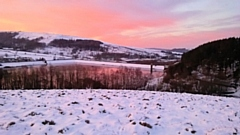Sunrise and snow over Ogden, Kitcliffe and Piethorne Reservoirs