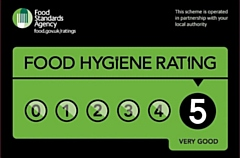 Food Hygiene Rating Sticker with a rating of five