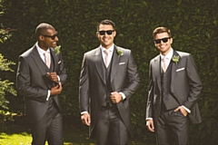 Wedding attire available includes tailored and slim-fit two-piece suits and tails in a range of colours