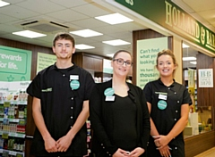 Benjamin Marsi, Jodie Nutley (Store Manager)  and Faye Kellett at the new Holland & Barrett, store in Tesco Silk Street, Rochdale