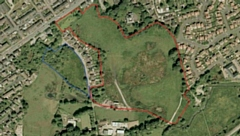 Site (bordered in red) off New Road in Littleborough, taken from Russell Homes  MPSL design and access statement via Rochdale Council website