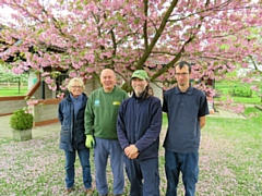 Nick and his team (L to R) volunteers Kath Hattersley and Stephen Ball, Head Gardener Nick Dent and Groundsman Harry Grantham