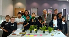 Mayor Mohammed Zaman attended the Dippy Project with school children at Number One Riverside on Tuesday 30 April