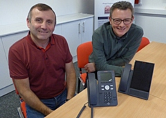 Operations director Kevin Beswick (left) with sales and marketing director Barry Tuffs at Atrium Telecom in Heywood