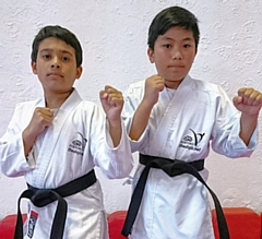 Sahail Ali and Gabby Pasay gain their Karate Black Belts