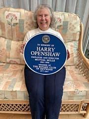 Valery Openshaw with the plaque in memory of her late husband, Harry