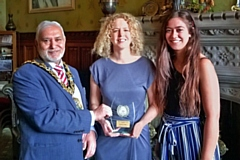 Mayor Mohammed Zaman with Claire Flett and Katie Davies from Rochdale Online