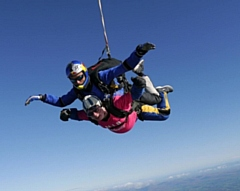 Kieron Hurst, skydiving, has been recognised with an RNIB Award for Excellence in Volunteering