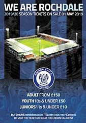 Rochdale AFC season tickets are now on sale - prices rise by �100 after Sunday 30 June