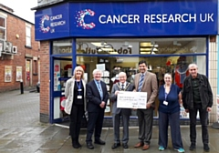 (L-R) Sandra Gregory (Area Manager Cancer Research), Tony Lloyd MP, Billy Sheerin (Mayor of Rochdale), Councillor Faisal Rana, Sherry Blandford (Assistant) and James Bolton (Volunteer)