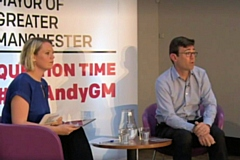 Andy Burnham at Question Time event in Rochdale with host Hannah Miller