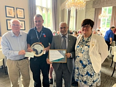 L-R: Wing Commander David Forbes, Caen Matthews (Rochdale Council armed forces officer), Councillor Mohammed Zaman, Councillor Janet Emsley (cabinet member for armed forces)