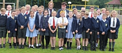 Year 5 pupils at St Peter's RC Primary School in Middleton celebrate the competition win