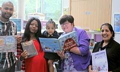 Councillor Janet Emsley (2nd r), cabinet member for libraries, at the launch of the 2019 Summer Reading Challenge