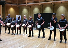 Meanwood Drummers, from Meanwood Primary School perform in the Music for Youth Festival