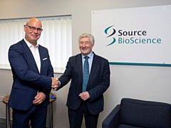 Source BioScience (SBS) commercial director Russell Wheatcroft (left) welcomed Rochdale MP Tony Lloyd (right) to the Kingsway facility