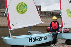 Haleema, with the boat named after her