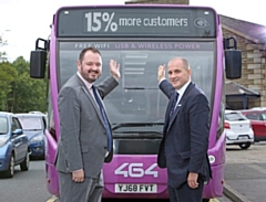 Transdev CEO Alex Hornby (left) with Northern Powerhouse Minister, Jake Berry MP (right) in front of a 464 bus