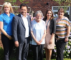 Heywood resident Margaret Ferry (centre), with her daughter Margaret Miller (right), celebrate the award nomination with Kathryn Bamford, of Rochdale Borough Council; Councillor Iftikhar Ahmed, cabinet member for adult care; and Kathryn Andrew, service development manager at Rochdale Borough Council
