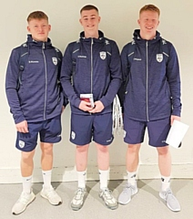Rochdale Lacrosse Club's Daniel Madeley, Tom Teal and Alex Halliday, pictured in 2019