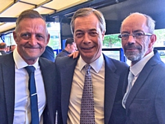 Councillor Alan McCarthy (L) and former council leader Colin Lambert (R) with Brexit Party leader Nigel Farage (C)