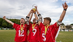 England, including Rochdale's Alex Halliday (no. 12, left) celebrate their win