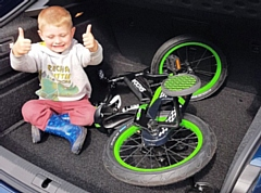 Emmett, with his new Škoda bicycle