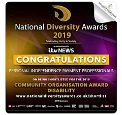 Personal Independence Payment Professionals shortlisted for the Community Organisation Award for Disability at the National Diversity Awards 2019