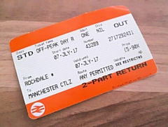 A train ticket between Rochdale and Manchester