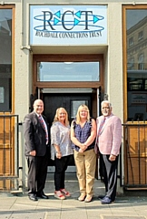 John Taylor and Doug Smith of Rochdale District Freemasons with Bev Place and Kathy Thomas (centre) of Rochdale Connections Trust